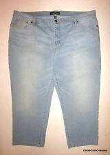LAUREN Jeans Co LRL Modern Straight Cropped Womens PLUS 22W 22 Light Wash Capris