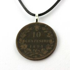 Collier pièce de monnaie Italie 10 centesimi Victor-Emmanuel II