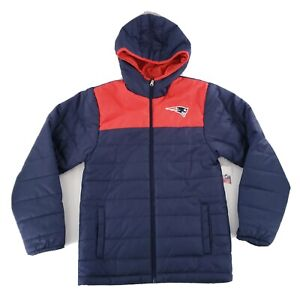 NFL Team Big Kids Blue Puffer Jacket New England Patriots Size Youth Large 14/16