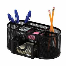 Desk Organizer 8 Compartments Metal Black Mesh Desktop Office Pen Pencil Holder