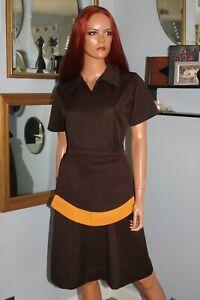 M Vintage 1980 Colonial Caterers Waitress Uniform Dress Pockets & Original Apron
