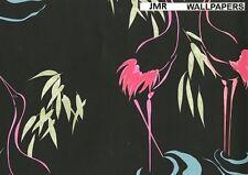 De Lujo Diseñador curiosidad Flamingo Negro y Rosa Papel Pintado por Rasch 263502-1