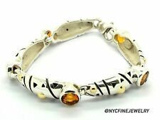 JOHN ATENCIO Sterling Silver 18K Gold and Citrine Stone Bracelet,7in (Authentic)