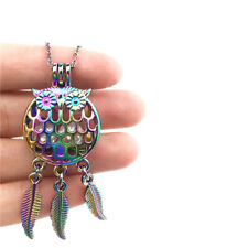 """C737 Owl Dream Catcher Charms MULTI COLOR Pearl Cage Stainless Steel Chain 18"""""""