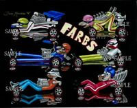MATTEL HOT WHEELS REDLINES FARBS ALL 6 CARS ART PRINT DIRECT FROM ARTIST