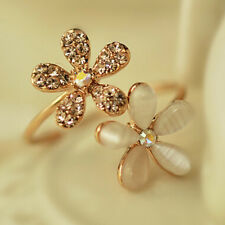 Fashion Women Jewelry Gold Plated Daisy Flower Crystal Adjustable Finger Ring