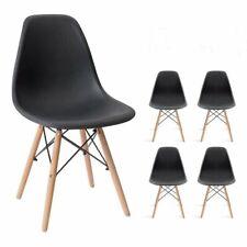 Lot de 4 chaises avec pieds en bois chaises nordiques salle à manger Noir