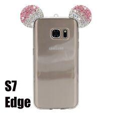 Samsung Galaxy S7 Edge - Pink Diamond Rhinestone Minnie Mouse Ears Rubber Case