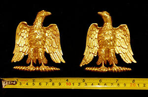 SMALL PAIR DECORATIVE EAGLE MOULDING ANTIQUE ORNATE GOLD  WHITE WALL DECORATION