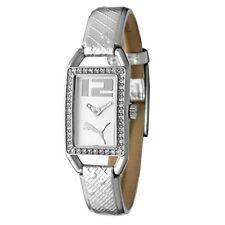 Puma Watch Wrist Band Ladies White Crystal Shiny Silver PU101662001