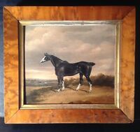 Antique Oil painting 19thC Black Horse in a Landscape George ARNULL (1825-1877)