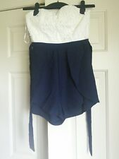 PEPPERMAYO Ezra Playsuit - White/Navy Size 4