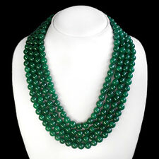 TOP MOST DEMANDED 1122.00 CTS EARTH MINED 4 LINE GREEN EMERALD BEADS NECKLACE