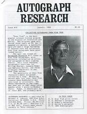 Autograph Research #13, January 1992, newsletter; Star Trek autographs Part 1