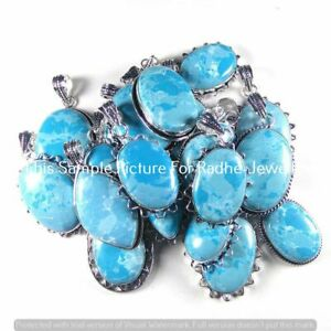 Larimar Gemstone 5 PCS Wholesale Lots 925 Sterling Silver Plated Pendants