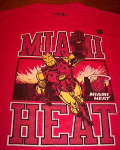 MIAMI HEAT NBA IRON MAN MARVEL COMICS T-Shirt MENS XL NEW