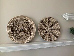 "MARLIC Set of 2 Handwoven Wall Baskets Art 14""- Deocrative Boho Round Seagrass"