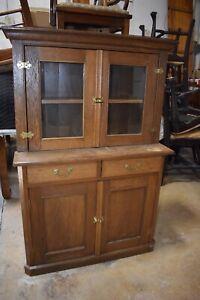 Antique Primitive Kitchen Cupboard Cabinet, Child's Size