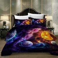 3D Colorful Space Planet Doona Duvet Cover Galaxy Bedding Quilt Cover PillowCase