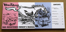 Ford Mustang Owners Manual 1965 65 repro Jim Osborn Reproductions handbook