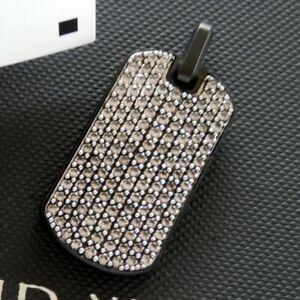 David Yurman Black Titanium 35mm Streamline Gray Sapphire Pave Dog Tag Pendant