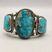 Large, Statement Piece! Three Stone Turquoise and Sterling Silver Cuff Bracelet