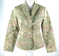 Kaity Blazer Sz M Medium Brocade Tapestry Floral Jacket Beige Green Medium NWT