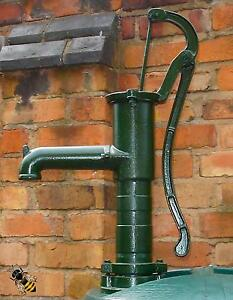 Hand Water Pump Working Cast Iron or Garden Ornament Water Feature Green New