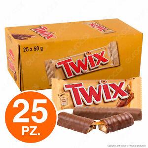 Twix Snack con Biscotto e Caramello Ricoperto di Cioccolato - Box con 25 Pezzi
