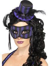 Mardi Gras Masquerade Set 2 Pc. Purple & Black Mini Hat On A Headband & Eye Mask
