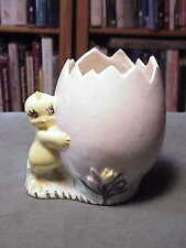 Vintage Hand-Made & Painted Easter Egg Ceramic Vase - W Large Chick Holding Egg