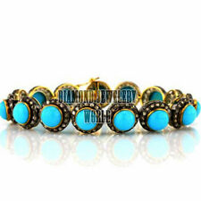 Estate 5.01ct Rose Cut Diamond Turquoise Studded Silver Amazing Bracelet Jewelry