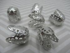 Vintage Silver Petal Bead Caps 17mm Wide X 15mm Deep Filigree Lightweight Qty 12