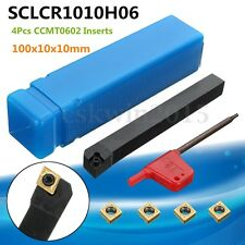 100x10x10mm SCLCR1010H06 Lathe Turning Tool Holder + 4Pcs CCMT0602 Alloy Inserts