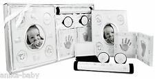 5pc Newborn Baby Birth Boy Girl Gift First Photo Frame Hand Footprint Kit Silver