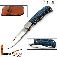 Blue Wood 6.5'' Stainless Steel Silver Bloster Folding Knife Back Lock LI-20
