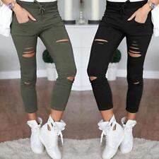 Women's Fashion Denim Skinny Ripped Pants Stretch Jeans Slim Pencil Trousers HX