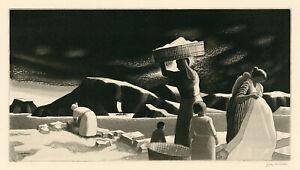 J. JAY MCVICKER, 'TROPICAL WASH DAY', signed aquatint, 1946