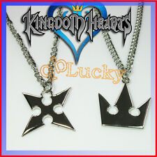 Set New KINGDOM HEARTS II SORA & Roxas CROWN Cross 2pcs Silver Necklace Chain