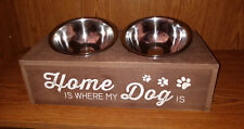 """Wooden Double Bowl ELEVATED PET FEEDER Stand >14"""" x 6.25"""" x 4"""" >New Bowls >LN"""