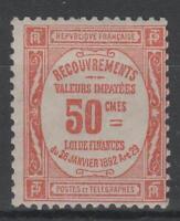 """FRANCE YVERT TAXE 47 SCOTT POSTAGE DUE  J 50 """" 50c RED """" MNH VVF N687"""