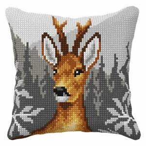 "Chunky Cross Stitch Cushion Front Kit  ""Deer Head""  40x40cm Printed canvas"