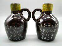 Vintage Little Brown Jug Salt And Pepper Shakers Set Japan Moonshine Liquor