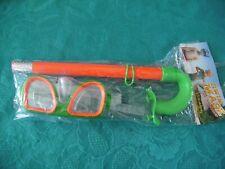 Taucherbrille mit Schnorchel Schwimmbrille-Schnorchelset orange grün Kinder