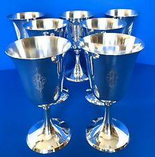 ELEGANT Set 7 STIEFF STERLING SILVER WINE WATER GOBLETS 0801 'B' Mono Not Scrap