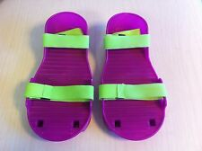 Vintage children's replacement Moon Shoes 1989 Purple Neon Green Plastic NEW NIP