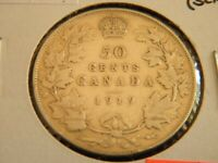 1919 Canada Sterling Silver 50 Cent Coin-Half Dollar Bullion Piece-20-331