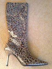 Metallic Look Gold Sexy  Animal Print Designer Boots Size Uk 3 Sexy Fetish