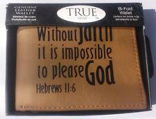 NEW Mens Christian Hebrews 11:6 GENUINE SOFT LEATHER Brown Black Bi-fold WALLET