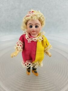"""4"""" antique bisque head German French style miniature dollhouse doll w glass eyes"""